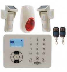 KP9 Bells Only Alarm, 2 x Outdoor Pet Friendly Solar Powered PIR's & Wireless Siren.