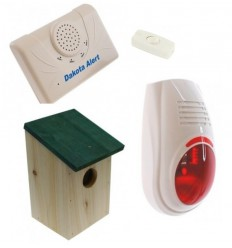 Wireless DCMA Driveway Alarm, Wooden Bird-box & Wireless Siren Kit