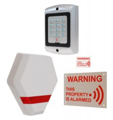 Compact Solar Powered Dummy Alarm Siren with Window Sticker, External Sign & Dummy Alarm Keypad.