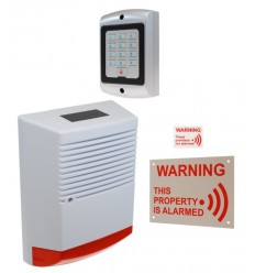 Large Solar Powered Dummy Alarm Siren with External Alarm Warning Sign, Window Sticker & Dummy Alarm Keypad