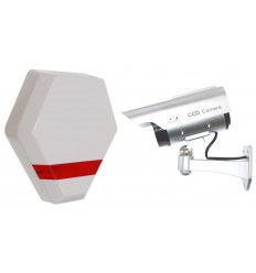 Solar Powered Dummy Compact Alarm Siren & DC2 Solar Dummy CCTV Camera