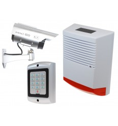 Large Solar Dummy Alarm Siren, Solar DC2 Solar CCTV Camera with Dummy Alarm Keypad.