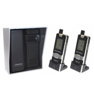 600 metre Wireless UltraCom Intercom System (no keypad) with Silver Outdoor Hood & 2 x Handsets