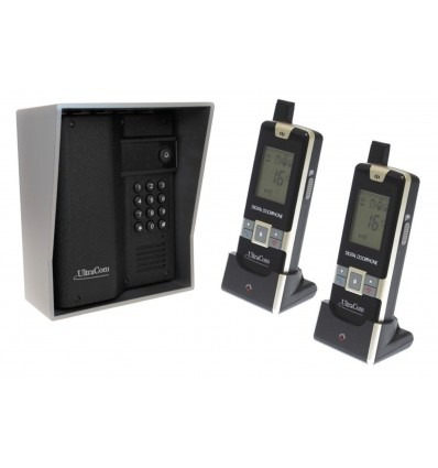 600 metre Wireless UltraCom Intercom with Keypad & Silver Outdoor Hood & 2 x Handsets