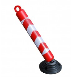 Plastic Bendy Bolt Down Bollard with Reflective Chevron Sticker (001-3430)