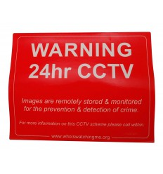 Red CCTV Warning Window Sticker