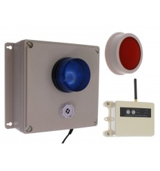 Long Range (1200 metre) Wireless SB Panic Alarm with an Adjustable Siren, Blue Flashing LED & Signal Repeater