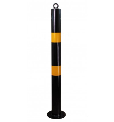 Black & Yellow 76 mm Diameter Bolt Down Steel Bollard (001-2930)