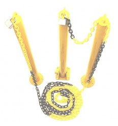 2 x Static, 1 x Fold Down Parking Posts & Plastic Chain Kit.