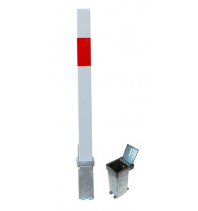 H/D White & Red 100P Security Parking Posts & 2 x Ground Bases.