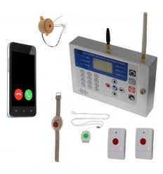 KP GSM Wireless Safety Alarm, Internal Sirens & 4 x Various Panic Buttons