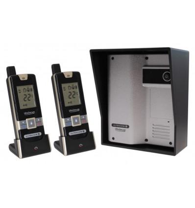 Wireless Gate & Door Intercom with 2 x Handsets (UltraCom2 No Keypad) Silver & Black Hood