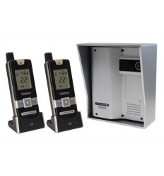 Wireless Gate & Door Intercom with 2 x Handsets (UltraCom2 No keypad) Silver with Silver Hood