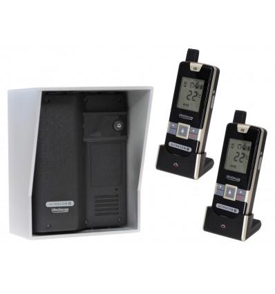 Wireless Gate & Door Intercom & 2 x Handsets (UltraCom2) Black with Silver Hood