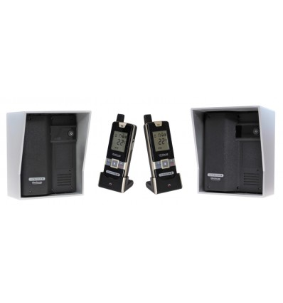 Wireless Gate & Door Intercom with 2 x Handsets & 2 x Caller Stations (UltraCom2 ) Black & Silver Hood s