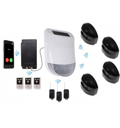 HY Outdoor Solar Wireless Siren Alarm Kit 3 with GSM Auto-Dialler