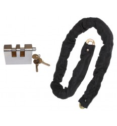 10 mm Case Hardened Steel Chain (1 metre long) with Double Slotted Shackle Lock (012-1100 K/D, 012-1110 K/A).