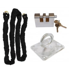 Case Hardened Steel Chain Kit with Shackle Lock & Flush Mounted Ground Anchor (012-1140 K/D, 012-1150 K/A).