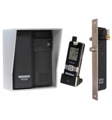 Wireless Door Intercom (UltraCom2) Black with Silver Hood & Electronic Door Lock
