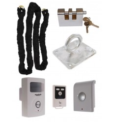 Chain, Lock, Ground Anchor & Battery PIR Alarm (Shed & Garage Security)
