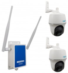 4G Wireless UltraCAM Router with 2 x Outdoor Battery Pan & Tilt Wifi Cameras