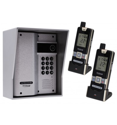 Wireless Gate & Door Intercom with Keypad & 2 x Handsets (UltraCom2) Silver & Silver Hood