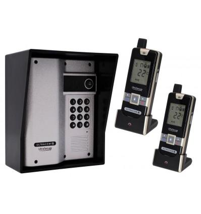 Wireless Gate & Door Intercom with Keypad & 2 x Handsets (UltraCom2) Silver & Black Hood