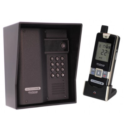 Wireless Long Range Gate Intercom with Keypad & Black Rain Hood