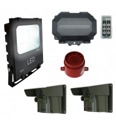 Security Floodlight & Adjustable Siren Long Range Driveway PIR Alarm with Outdoor Receiver