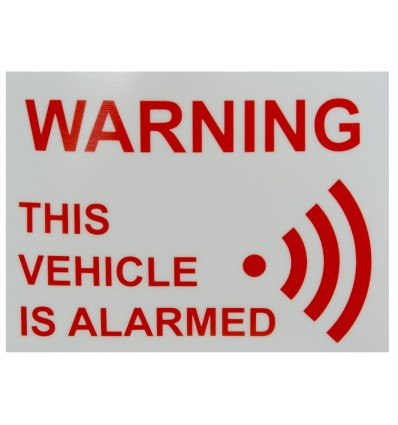 'This Vehicle Is Alarmed' Window Sticker
