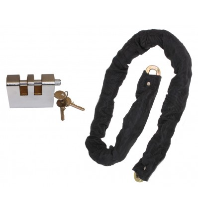1 metre Long Steel Chain (10 mm links) with Double Slotted Shackle Lock
