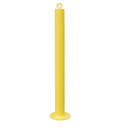 76 mm Diameter Fixed Bolt Down Yellow Bollard with Top Mounted Eyelet