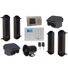 Solar Wireless Beams & PIRs Perimeter Alarm with KP9 GSM Dialler & Loud Wired Siren