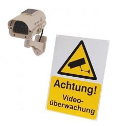 DC23 Solar Dummy CCTV Camera & Warning Sign