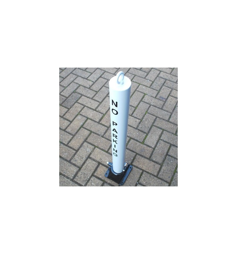 Fold Down Parking Post White 900w 76 No Parking Logo