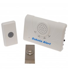 Long Range Wireless Bell & Brushed Silver Push Button.