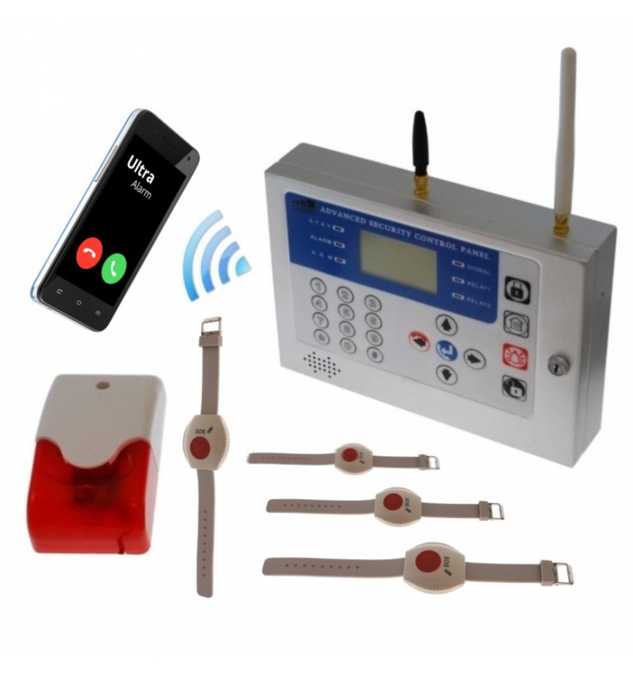 KP GSM Wireless Staff Safety Alarm with Wristband Panic Buttons|