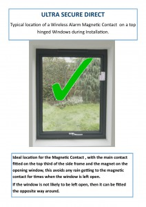 Installation location of a Wireless Alarm Magnetic Contact on a top hinged window