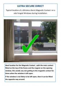 Installation location of a Wireless Alarm Magnetic Contact on a side hinged window